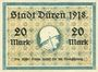 Banknotes Düren. Stadt. Billet. 20 mark 1.11.1918