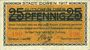 Banknotes Düren. Stadt. Billet. 5 mark imprimé sur 25 pf du 1.6.1917