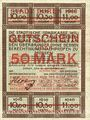Banknotes Düren. Stadt. Billet. 50 mark 17.10.1918  imprimé sur 10 mark du 15.9.1917