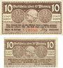 Banknotes Düren. Stadt. Billets. 10 pf 20.7.1919 ; 10 pf 20.2.1920