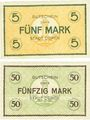Banknotes Düren. Stadt. Billets. 5 mark, 50 mark 18.10.1918