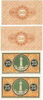 Banknotes Düren. Stadt. Billets. 50 pf 1.3.1917 réimp, 50 pf 15.5.1917 réimp, 25 pf (2ex) 1.6.1917