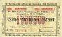 Banknotes Düsseldorf. Arbeitgeber - Vereinigung. Billet. 1 million mk 9.8.1923