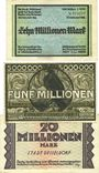 Banknotes Düsseldorf. Billets. 5, 10 millions mk 25.8.1923, 20 millions mk 1.9.1923