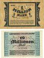 Banknotes Düsseldorf. Landkreis. Billets. 1 million mk 7.8.1923, 10 millions mk 29.8.1923