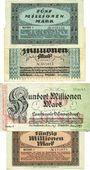 Banknotes Düsseldorf. Landkreis. Billets. 5, 10, 100, 50 millions mk 1923