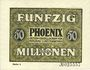 Banknotes Düsseldorf. Phoenix. Billet. 50 millions de mark du 15.9.1923, série (Reihe) 4