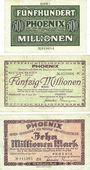 Banknotes Düsseldorf. Phoenix. Billet. 500 millions, 50 millions, 10 millions mk 1923