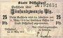 Banknotes Düsseldorf. Stadt. Billet. 25 pfennig 20.3.1917