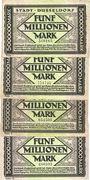 Banknotes Düsseldorf. Stadt. Billets. 1 million de mk série (Reihe) I, II, IV, V du 21.8.1923