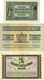 Banknotes Düsseldorf. Stadt. Billets. 100000 mk série 1, 500000 mk série 1, 1 million mk série 2 du 15.8.1923