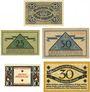 Banknotes Düsseldorf. Stadt. Billets. 25 pf 2.9.1918, 50, 25 pf 15.10.1919, 10, 30 pf 10.1.1920