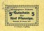 Banknotes Eichstätt. Stadt. Billet. 5 pfennig. Cachet A