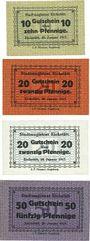 Banknotes Eichstätt. Stadt. Billets. 10 pf, 20 pf (2ex), 50 pf. Sans cachets