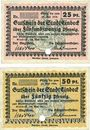 Banknotes Einbeck. Stadt. Billets. 25 pf, 50 pf mai 1917, Essai (Muster) annulation par perforation