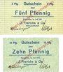 Banknotes Einswarden. Frerichswerft. Billets. 5 pf, 10 pf juin 1921