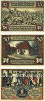 Banknotes Eisbergen. Spar- und Darlehenkasse der Gemeinde. Billets. 25, 50 pf, 1 mark mars 1921