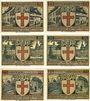 Banknotes Eisenach. Stadt. Série de 6 billets. 25 pf (2ex), 50 pf (2ex), 75 pf (2ex) (1922)
