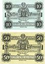 Banknotes Eisleben. Stadt. Billets. 10 pf, 50 pf 1.6.1917