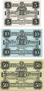 Banknotes Eisleben. Stadt. Billets. 5 pf, 10 pf, 50 pf 1.6.1917