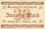 Banknotes Elberfeld. Stadt. Billet. 20 mark 25.10.1918, impression: Wieder in Verkehr bis 30. November 1922