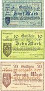 Banknotes Elberfeld. Stadt. Billets. 5, 10, 20 mark 25.10.1918