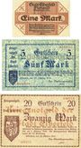 Banknotes Elberfeld. Stadt. Billets. 5, 20 mark 25.10.1918, 1 mark 15.11.1918