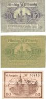 Banknotes Elbing (Elblag, Pologne). Stadt. Billets. 50 pf 8.1.1917, 50 pf 16.7.1918, 50 pf 1.4.1920