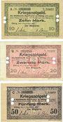Banknotes Elbing (Elblag, Pologne). Städtische Sparkasse. Billets. 10, 20, 50 mark 1.11.1918