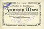 Banknotes Elmshorn. Kredit-Verein. Billet. 20 mark 7.11.1918, signature : Weyl, cachet Ungültig