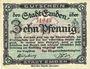 Banknotes Emden. Stadt. Billet. 10 pf 1918