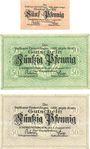 Banknotes Emmendingen. Stadt. Billets. 5 pf, 50 pf (2 ex) 1.8.1917