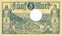 Banknotes Ems, Bad. Stadt. Billet. 5 mark série (Reihe) E 18.11.1918, annulation par perforation