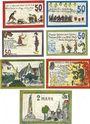 Banknotes Ennigerloh. Gemeinde. Billets. 50 pf (4ex), 1 mark (2ex), 2 mark 1.6.1921