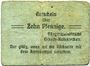Banknotes Erbach-Reiskirchen. Gemeinde. Billet. 10 pfennig (1917), au dos, numérotation manuscrite en rouge