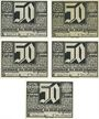 Banknotes Erfurt. Stadt. Billets. 50 pfennig (5 ex) 7.4.1921