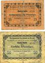 Banknotes Ergoldsbach. Marktgemeinde. Billets. 25 pf, 50 pf 15.1.1917