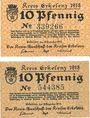Banknotes Erlelenz. Kreis. Billets. 10 pf 18.12.1919, 2ex : papier blanc et gris