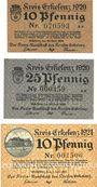 Banknotes Erlelenz. Kreis. Billets. 10 pf, 25 pf 24.6.1920, 10 pf 1.7.1921
