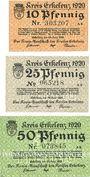 Banknotes Erlelenz. Kreis. Billets. 10 pf, 25 pf, 50 pf 24.6.1920