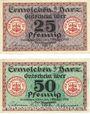 Banknotes Ermsleben. Stadt. Billets. 25 pf, 50 pf 1.10.1918