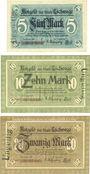 Banknotes Eschwege. Stadt. Billets. 5 mark, 10 mark, 20 mark 1918, annulation par cachet...