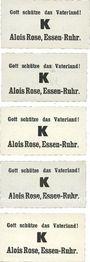 Banknotes Essen. Alois Rose. Billets. 20 pf, 40 pf, 60 pf, 80 pf, 100 pf. Avec convertion en poids de pain