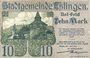Banknotes Esslingen. Stadt. Billet. 10 mark 1.11.1918