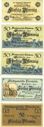 Banknotes Ettenheim. Stadt. Billets. 50 pf 1917 réimp 50 pf 1918 réimp 50 pf 1919 réimp  50 pf 1920 50 pf 1921
