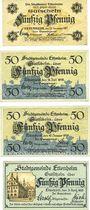 Banknotes Ettenheim. Stadt. Billets. 50 pf 1917 réimp, 50 pf 1918 réimp, 50 pf 1919 réimp,  50 pf 1920