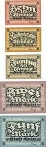 Banknotes Exin (Kenya, Pologne). Stadt. Billets. 10, 25, 50 pf, 2, 5 mark 1.11.1916