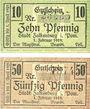 Banknotes Falkenburg i. Pom (Zlocieniec, Pologne). Stadt. Billets. 10 pf, 50 pf 1.2.1919