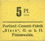 Banknotes Finkenwalde (Zdroje, Pologne). Portland Cement-Fabrik G.m.b.H. Billet. 5 pf (1919)