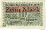 Banknotes Flatow (Zlotow, Pologne). Kreis. Billet. 10 mark 16.11.1918, Cachet d'annulation noir Wertlos